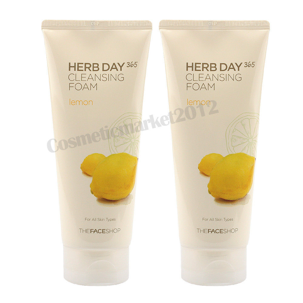 THE FACE SHOP Herb Day 365 Cleansing Foam 170ml Foam - Lemon 1+1 2pcs (weight : 460g)