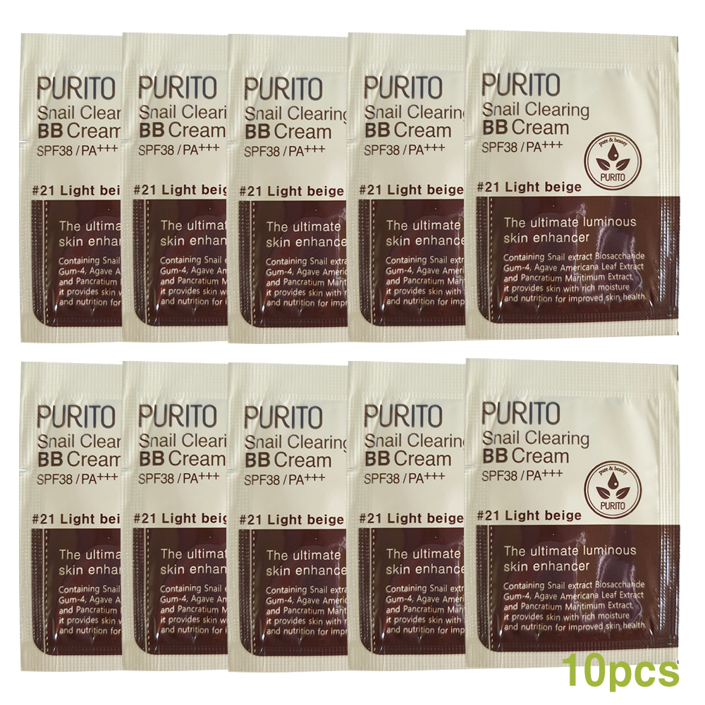 PURITO Snail Clearing BB Cream SPF38/PA++ Sample 10Pcs